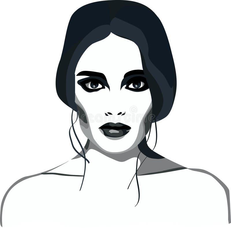 Smoky eyes fashion girl glamor makeup vector illustration