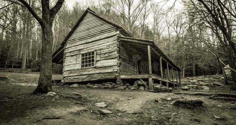 Smoky Mountain Cabin In Black And White stock photos