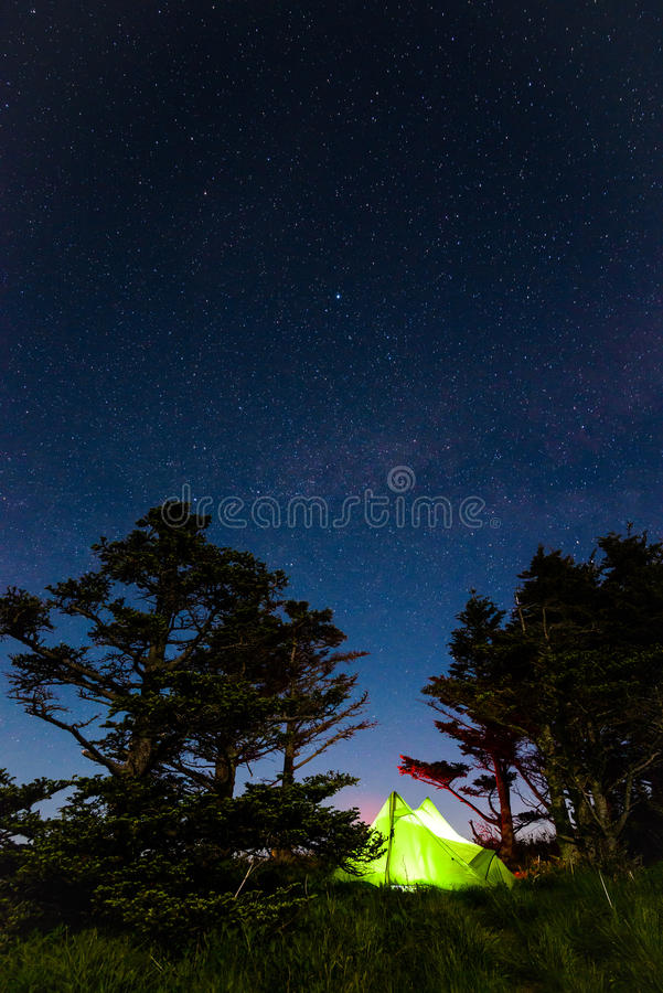 Smoky Mountain Camping. Camping out under the stars in the Great Smoky Mountains National park. This was taken from the top of Round Bald at Roan Mountain stock image