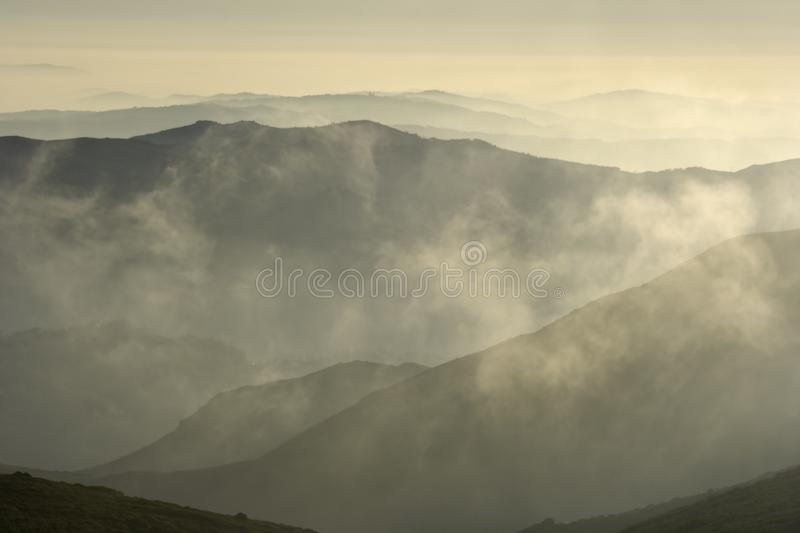 Smoky mountain layers. North of Portugal stock photos