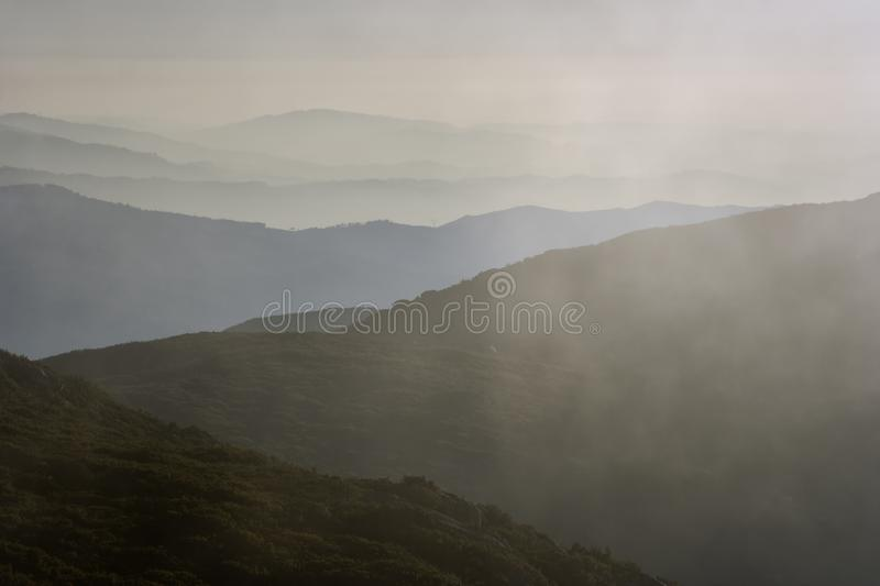 Smoky mountain layers. Seeing the Atlantic Ocean in the foreground. North of Portugal stock images