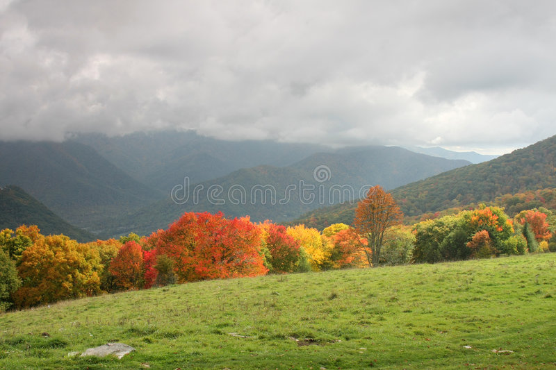 Smoky mountain scenery. Scenic fall view of the smoky mountain national park stock photo