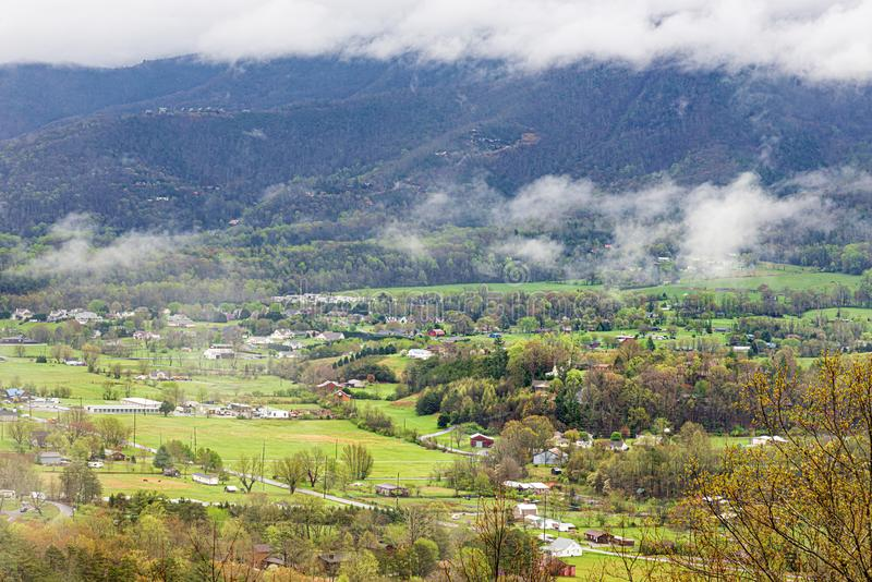 Smoky Mountain Valley Rural Community. Horizontal panoramic shot of a Smoky Mountain valley rural community royalty free stock photo