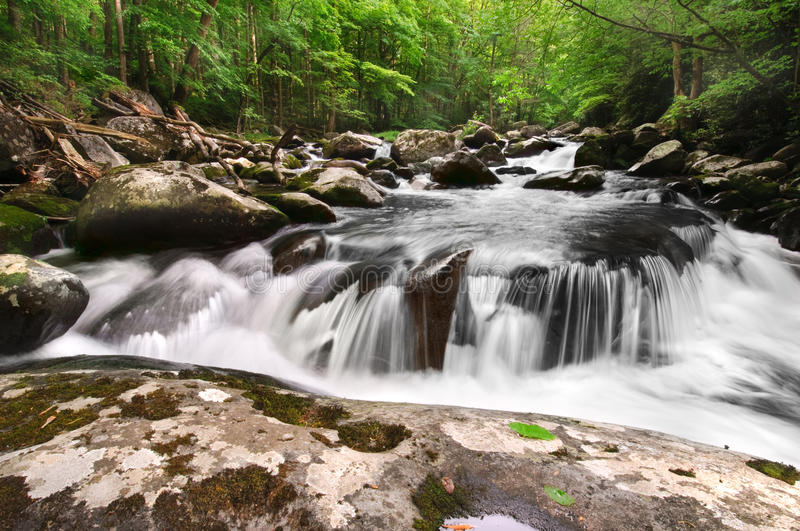 Smoky Mountain Waterfall. Beautiful waterfall, Middle Prong of the Little River in Great Smoky Mountains National Park, after the spring rains. On the border of royalty free stock image