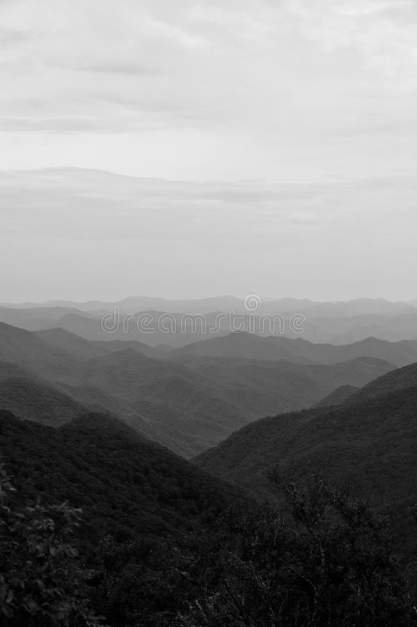 Smoky Mountains. A view of the Smoky Mountains in Black and White royalty free stock photo