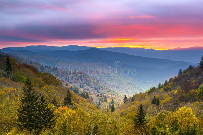 Smoky Mountains. Autumn morning in the Smoky Mountains National Park stock photo