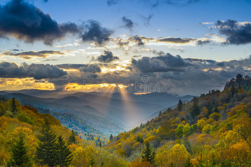 Smoky Mountains. Autumn sunrise in the Smoky Mountains National Park royalty free stock photography