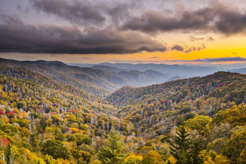 Smoky Mountains. Autumn sunset in the Smoky Mountains National Park royalty free stock photos