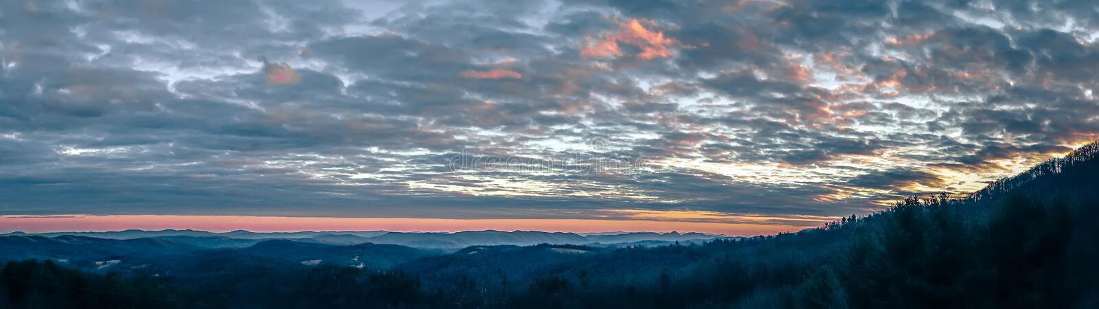 Smoky mountains blue ridge panorama at sunset stock photos