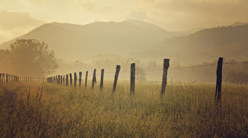 Smoky Mountains Cades Cove. Picture of Smoky mountains range in TN, Cades Cove field stock photo
