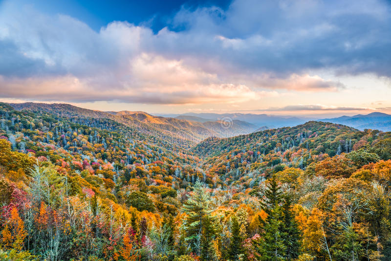 Smoky Mountains National Park. Tennessee, USA autumn landscape at Newfound Gap royalty free stock photo