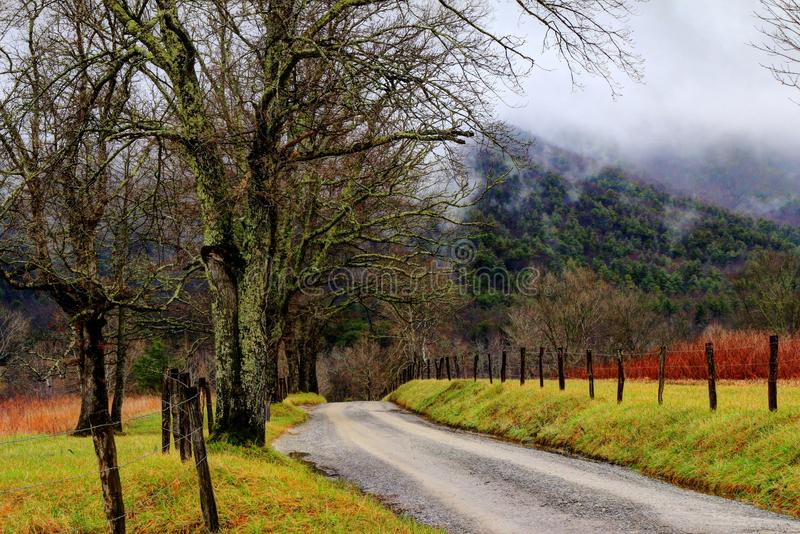 Smoky Mountains -Sparks Lane. Sparks Lane at Cades Cove in the Great smoky Mountains national park was rainy, and foggy with temps just above freezing this royalty free stock photos