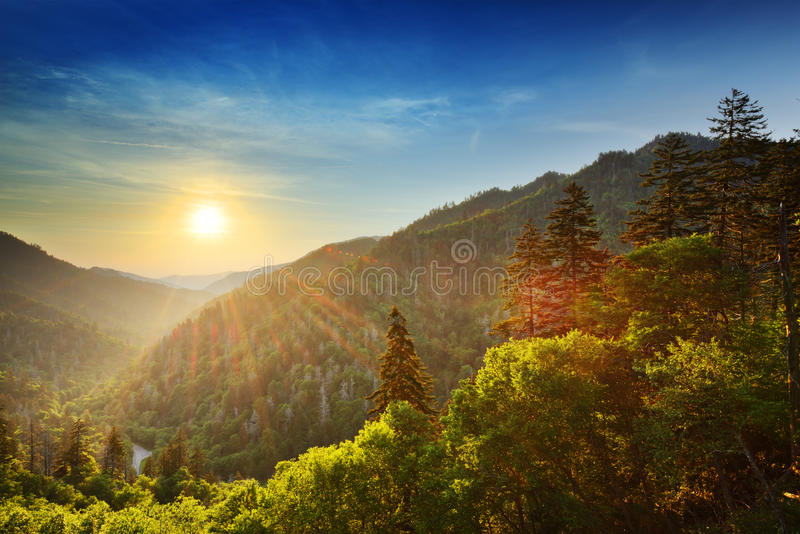 Smoky Mountains. Sunset at the Newfound Gap in the Great Smoky Mountains royalty free stock photography