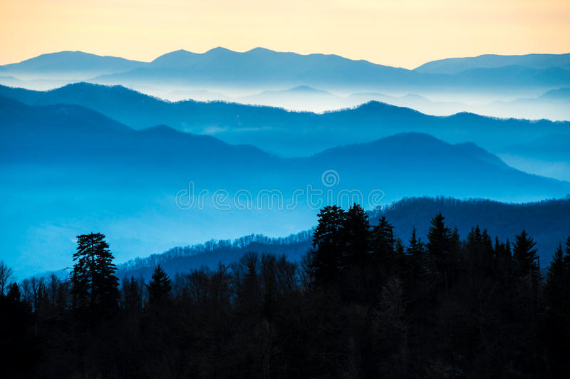 Smoky Mountains in Tennessee. View of the Smoky Mountains from Route 441 Newfound Gap stock photo