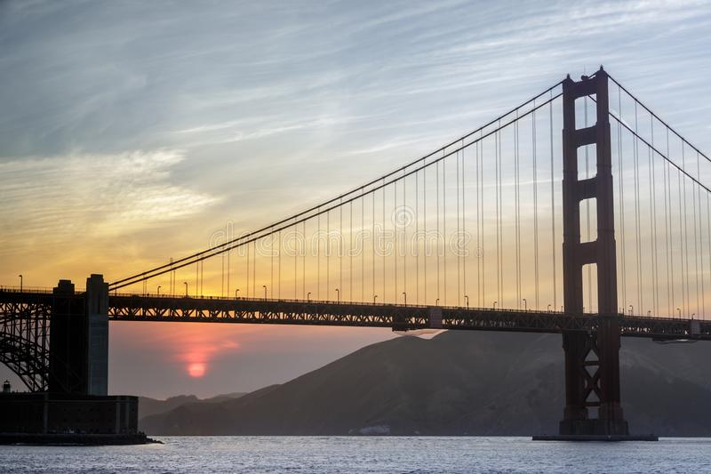 Smoky Sunset over the Golden Gate Bridge royalty free stock images