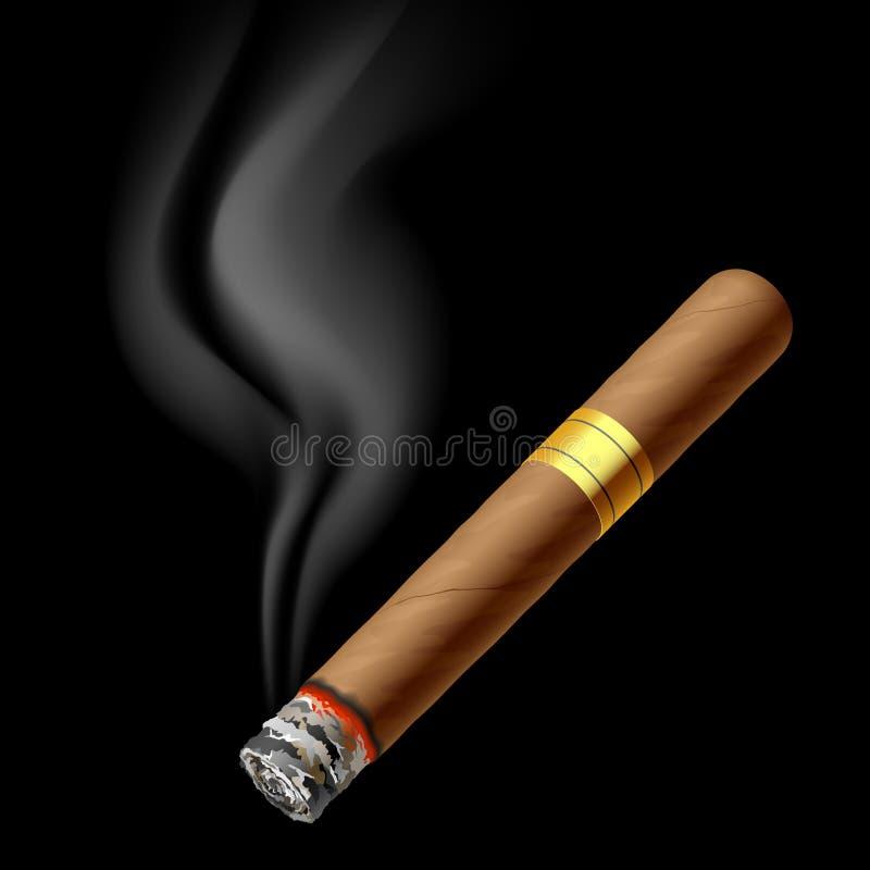 Smoldering cigar. Vector illustration of a smoldering cigar royalty free illustration
