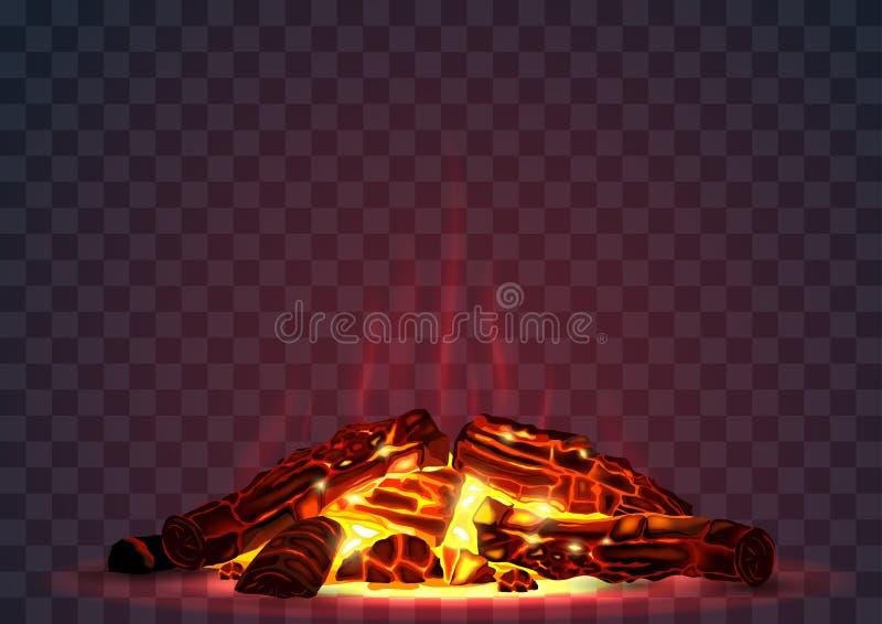 Smoldering fire at night vector illustration