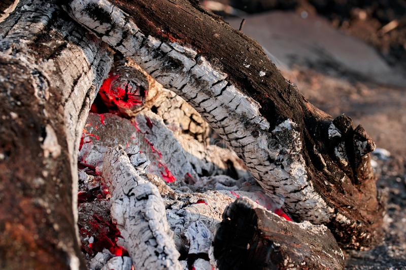 Smoldering logs burned in bright fires close up stock photo