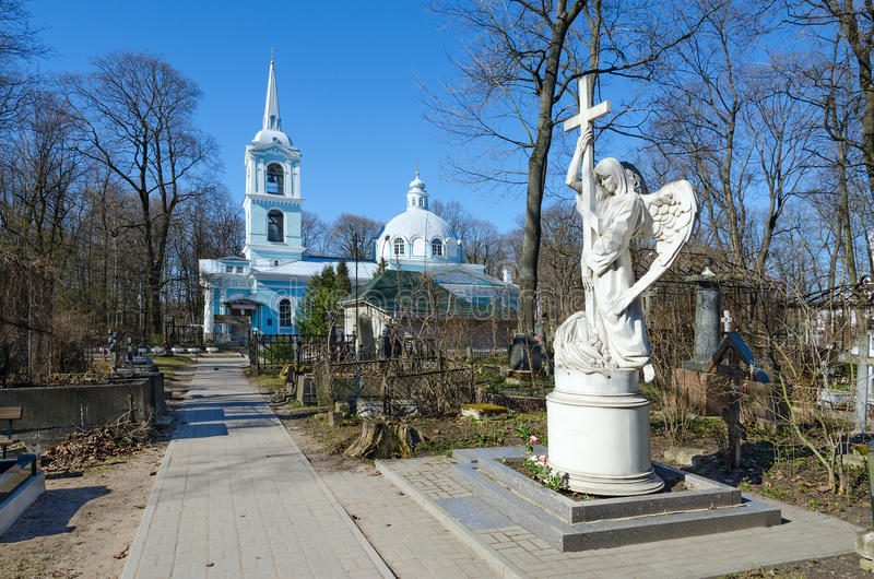 Smolensk Cemetery, St. Petersburg, Russia. Church of Smolensk Icon of Mother of God royalty free stock images