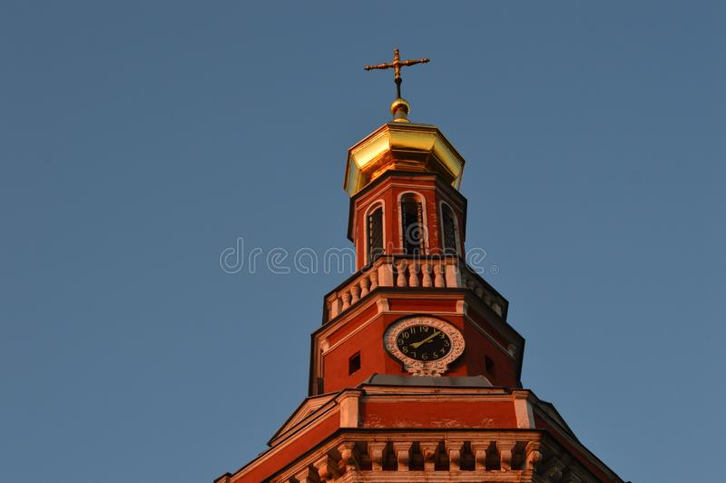 Smolensk church in the rays of red sunset. Russia. Summer stock photos