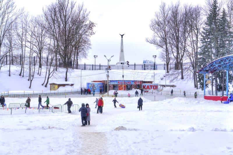 smolensk Jardim de Lopatinsky Pista de gelo da cidade foto de stock