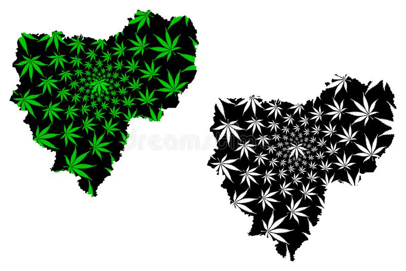 Smolensk Oblast Rusland, Onderwerpen van de Russische Federatie, Oblasts van de kaart van Rusland is ontworpen groen en zwart can vector illustratie