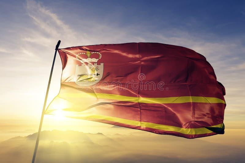 Smolensk oblast van stof die van de de vlag de textieldoek van Rusland op de bovenkant golven royalty-vrije illustratie