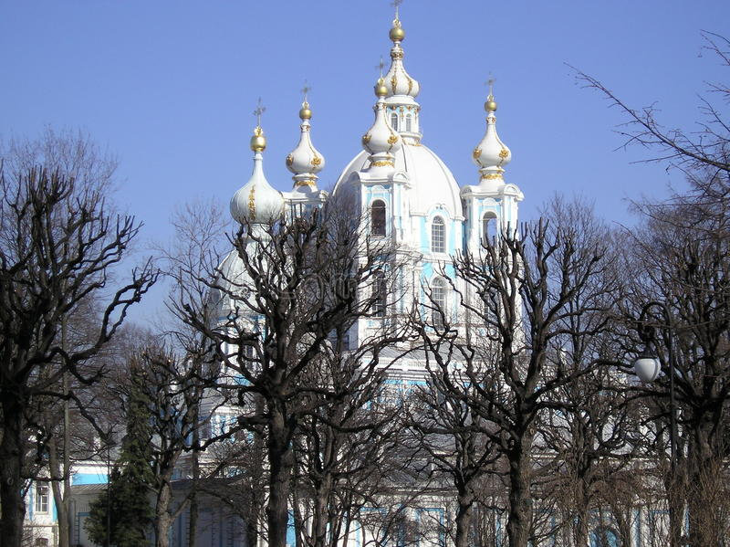 The Smolny Catedral in spring. stock images