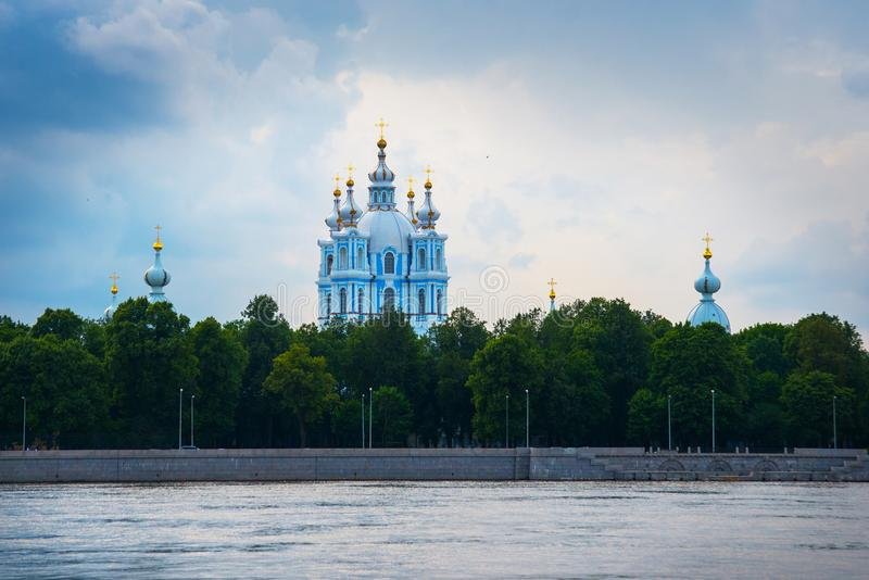 Smolny Cathedral. Neva River, Smolny Convent of the Resurrection in the background. St. Petersburg, Russia stock photos