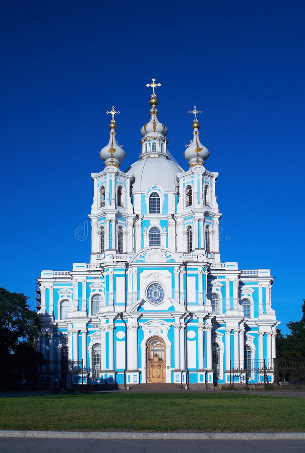 Smolny cathedral in petersburg royalty free stock images