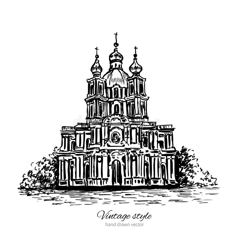 Smolny Cathedral of Saint Petersburg landmark, Russia, hand drawn engraving vector illustration isolated on white. Vintage style ink sketch building for vector illustration