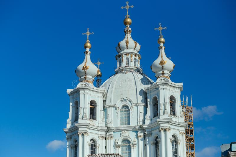 Smolny cathedral in Saint Petersburg Russia stock image