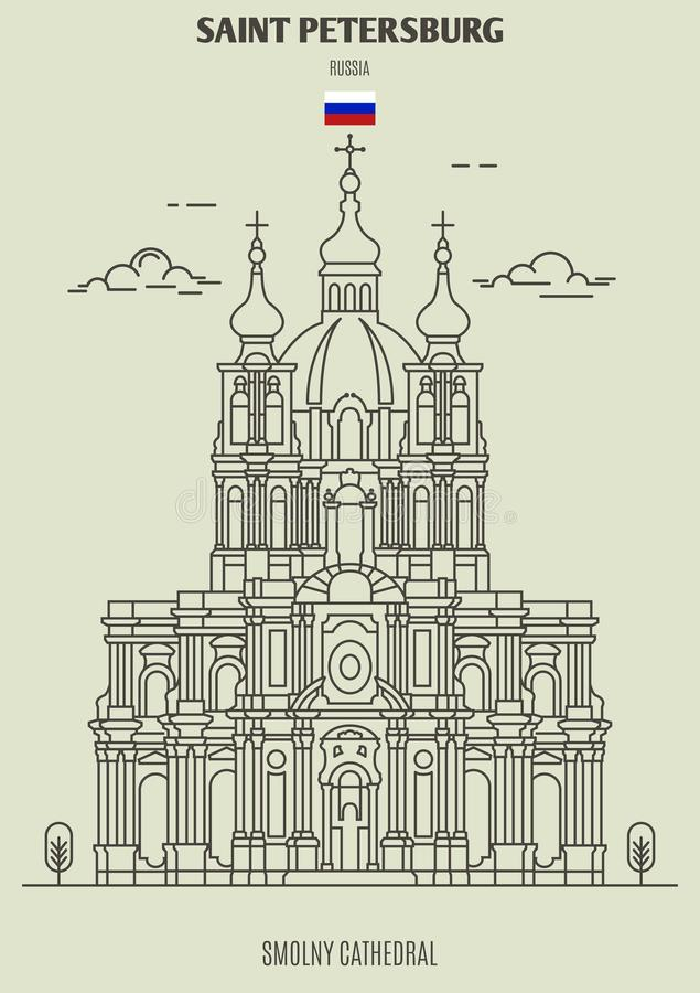 Smolny Cathedral in Saint Petersburg, Russia. Landmark icon royalty free illustration