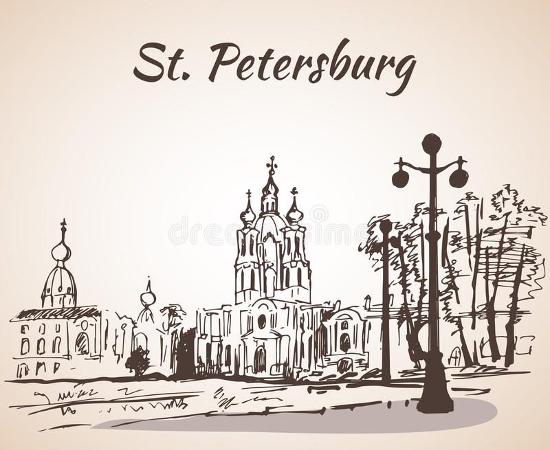 Smolny Cathedral in Saint-Petersburg, Russia royalty free illustration