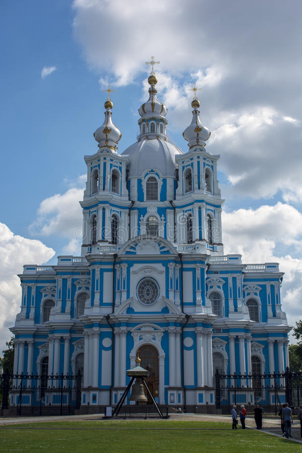 Smolny Cathedral in St. Petersburg. stock photo