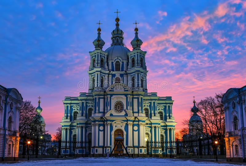 Smolny Cathedral under night sky, Saint Petersburg, Russia. Panoramic city scene at daybreak. Front close up view royalty free stock photo