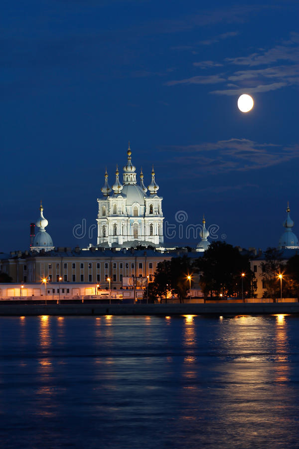 Smolny Cathedral View in White Nights. St. Petersburg, Russia royalty free stock photos