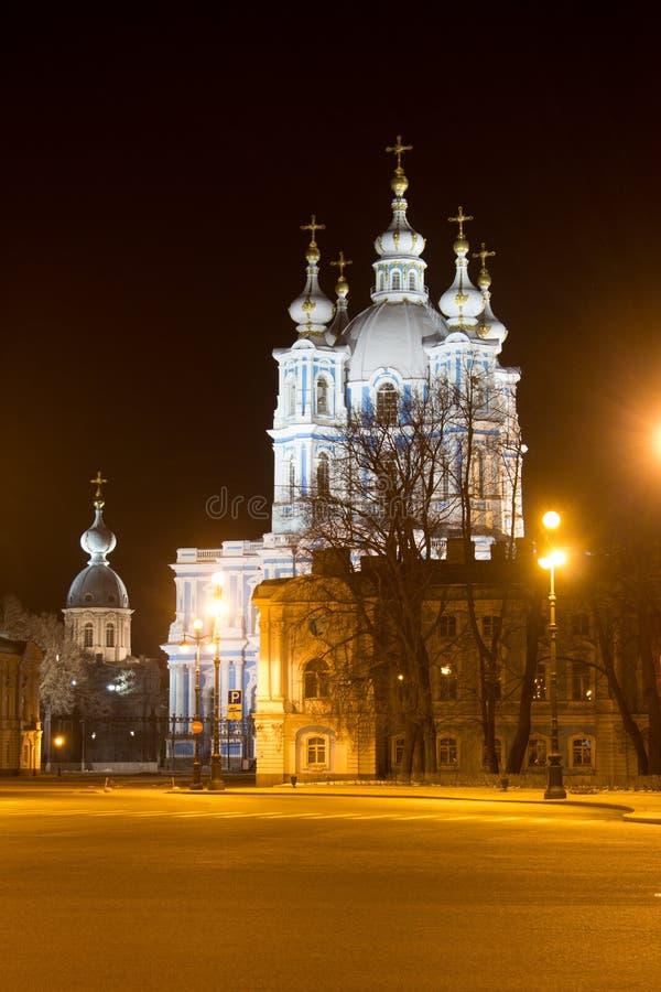 Smolny katedra iluminująca saint petersburg zdjęcia royalty free