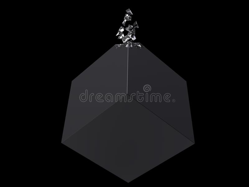 Smooth black cube - crystal pieces floating of - abstract royalty free illustration