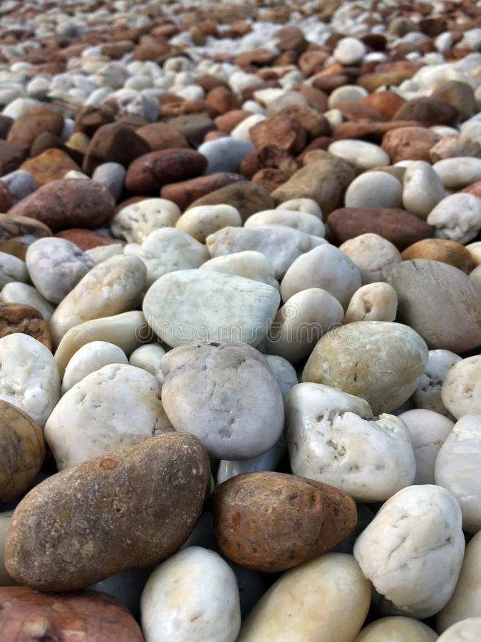 Smooth brown, black, gray, white pebbles or stones for use decor and garden landscaping. royalty free stock photography