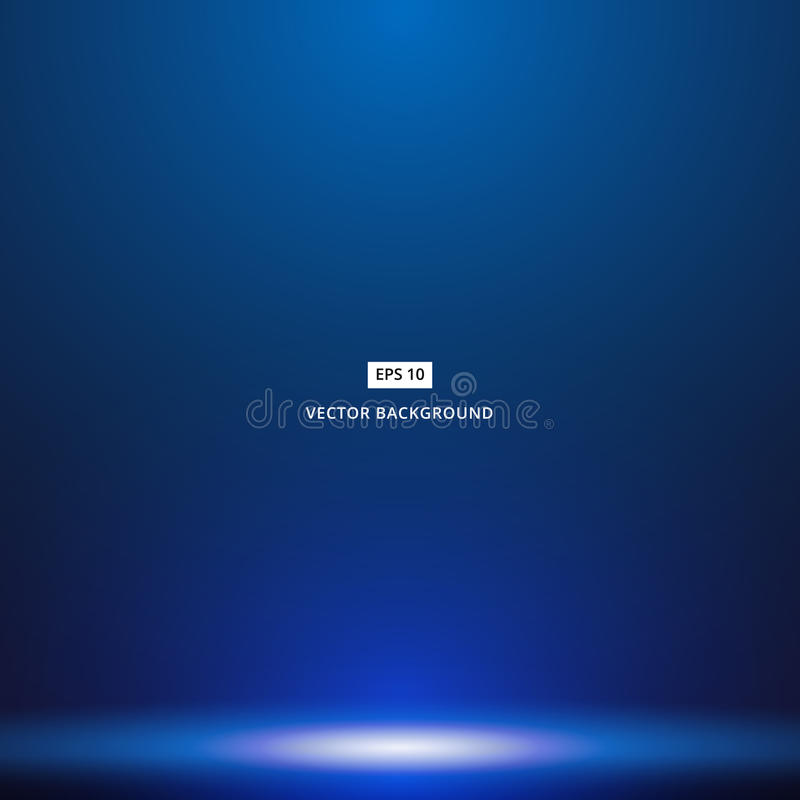 Smooth Dark blue with Black vignette studio room background stock illustration