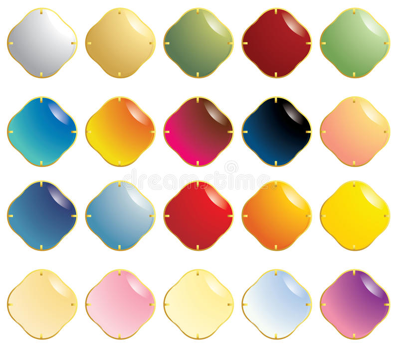 Smooth gemstones with gold fastener vector illustration