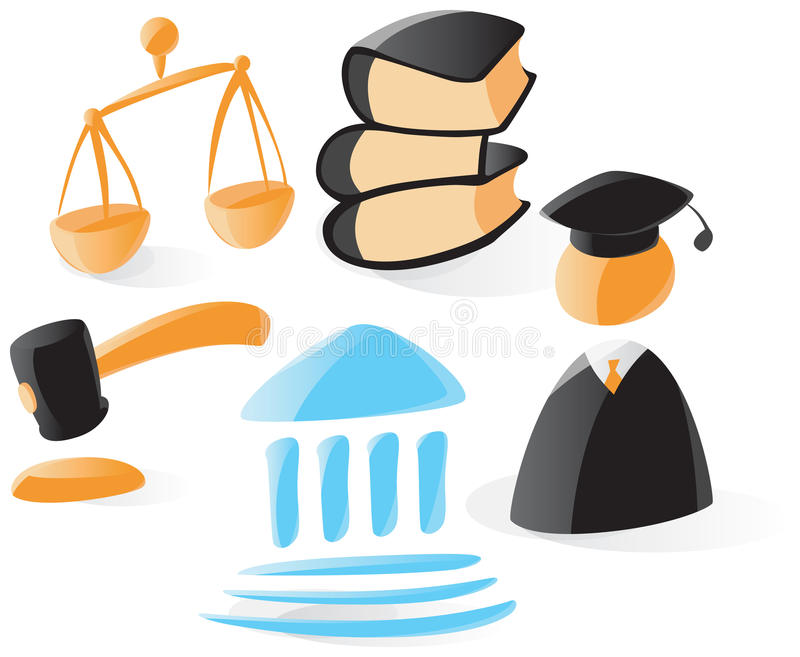 Smooth law icons stock illustration