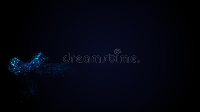 Smooth luxury techno blue stream slowly flow on black background. Copy space. Concept abstract techno blue fluid on black backdrop. Abstract background royalty free illustration