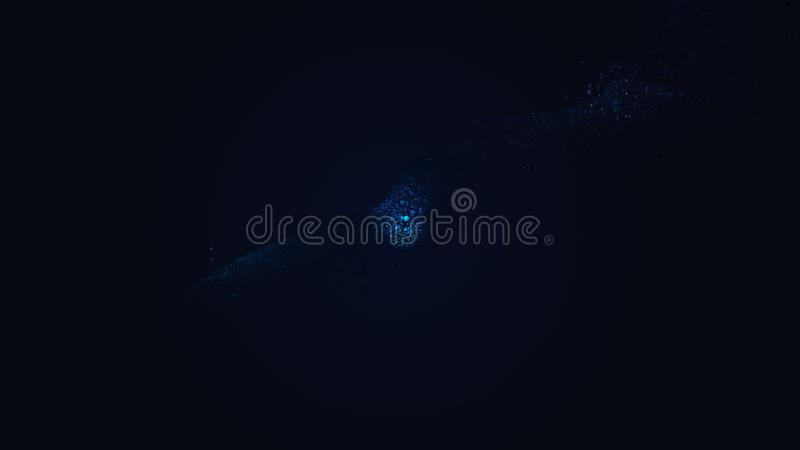 Smooth luxury techno blue stream slowly flow on total blurred blue background. Copy space. Concept abstract techno blue fluid on black backdrop. Abstract vector illustration