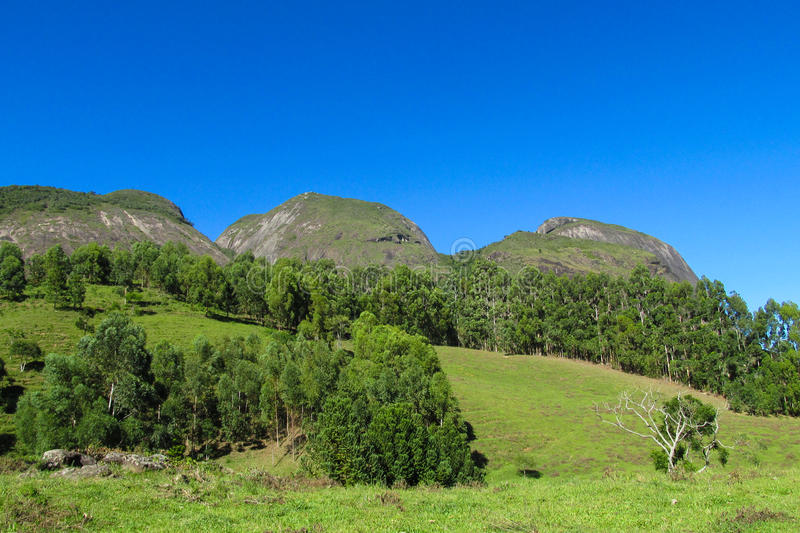 Smooth mountain rocks, Brazil. Beautiful landscape of green tropical forest and smooth rocks. The rock formations, big granite rock huge slopes, rainforest down royalty free stock images