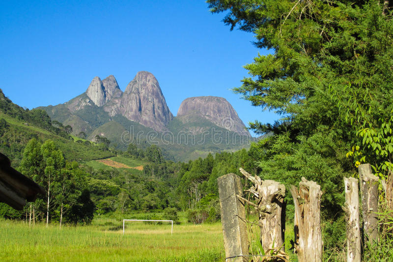 Smooth mountain rocks in Tres Picos National Park, Brazil. Beautiful landscape of green tropical forest and smooth rocks. The rock formations, big granite rock stock images