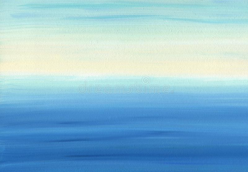 Smooth oil painting texture and color of calm sea and sky royalty free stock photography