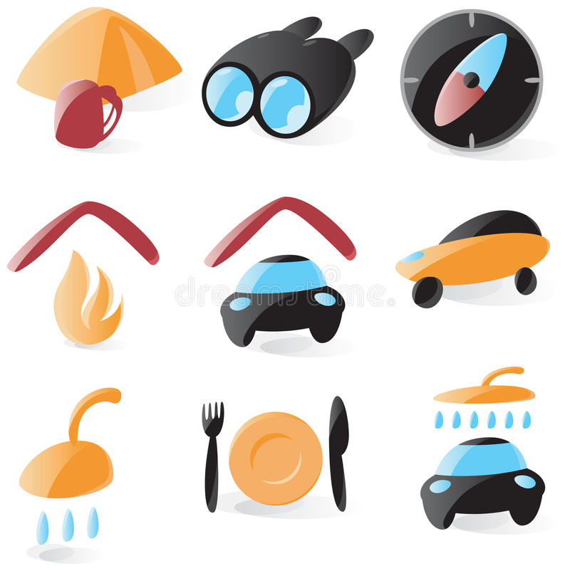 Smooth Outdoors And Camping Icons Royalty Free Stock Images