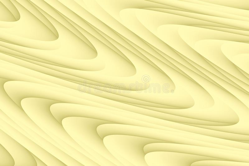 Smooth pale yellow rolling curves abstract wallpaper background royalty free illustration